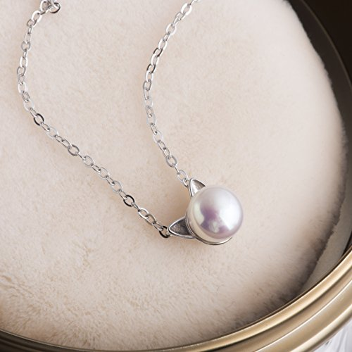 SLeaf-Sterling-Silver-Cat-Necklace-Freshwater-Cultured-Pearl-Cat-Collarbone-Charm-Necklace
