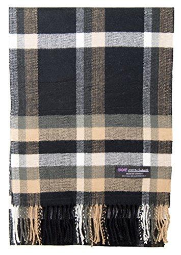 100% Cashmere Scarf Elegant Collection Made in Scotland Wool Buffalo Tartan Windowpane Check Plaid (Black Camel White Buffalo) -