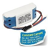 Chanzon LED Driver 600mA (Constant Current Output) 9V-13.6V (Input 85-277V AC-DC) (3-4)x3W 9W 12W Power Supply 600 mA Lighting Transformer Drivers for High Power COB Light Lamp Bulb (Plastic Case)