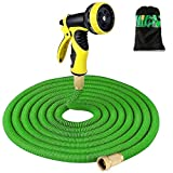 HENGQIANG Garden Hose - 100Ft Expandable Garden Hose - 9 High Pressure Spray Patterns - 3/4'' Solid Brass Joints - Non-Twisted, Unwound Lawn and Plant Watering - Durable Three-Layer Latex Core.