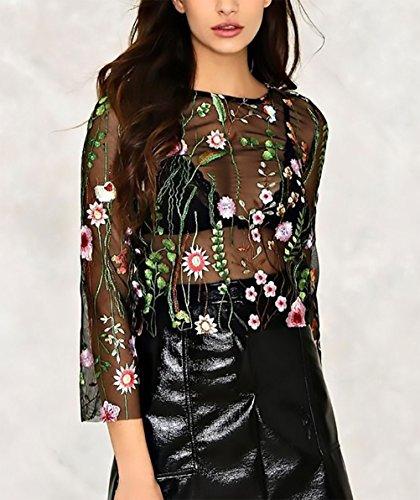 Vintage Stile Elegante Shirt Moda Sottile T Trasparente Tulle Ragazza Nero Top Ricamo Collo Fiori Dolce Fashionable Magliette Maniche Donna Rotondo Bluse Lunghe Abbigliamento wRaqZZ