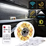 PANGTON VILLA Under Cabinet Lighting RF Wireless Remote Timing Function, 13ft White LED Strip 6000K Flexible Full kit, DIY Kitchen, Cupboard, Desk, Monitor Back, Shelf,
