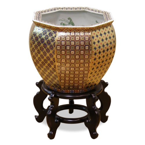 - ChinaFurnitureOnline Porcelain Fishbowl, 12 Inches Hand Painted Chinese Gold Geometric Motif Planter