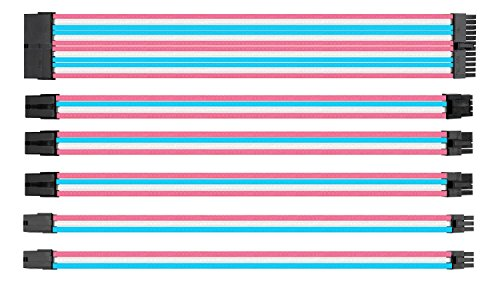 (upHere Sleeved Cable - Cable Extension for Power Supply with Extra-Sleeved 24-PIN 8-PIN 6-PIN 4+4 PIN - Pink/White/Blue with Cable Combs(11.8 inch/ 30CM),SC306)