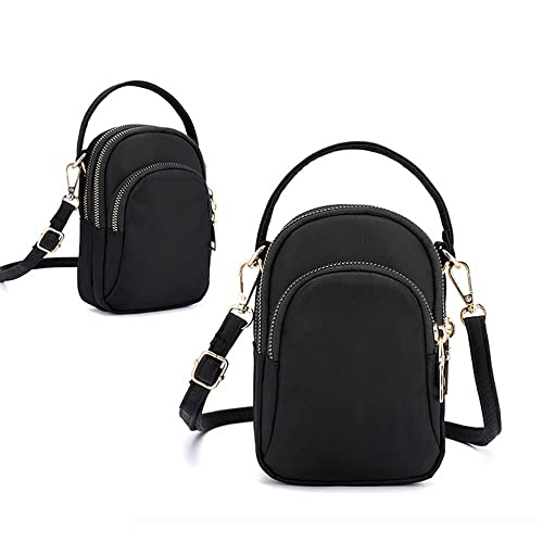 090871ee30c Women Mini Nylon Waterproof Multi-Slot Solid Crossbody Bag Portable Phone  Bag (Black)