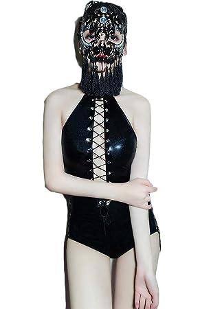 Mujeres Lencería de Cuero Sexy Traje siamés Catwoman Latex ...