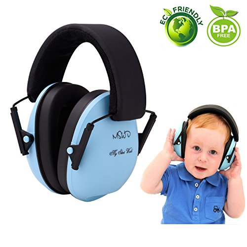 Baby Noise Cancelling Headphones Hearing Protection  Ear Muffs - Adjustable Headband Baby Ear Protection Soundproof Ear Defenders for Children Infants from 3 Months to 12 Years, Blue ()