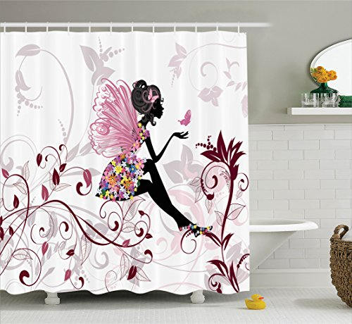 Girls Shower Curtain Set Teens Decor By Ambesonne, Flower Fairy With Butterflies Wings Branches Ornamental Floral Spring Forest, Bathroom Accessories, with Hooks, 69W X 70L Inches, Pink White Black (Bathroom Sets Teen)