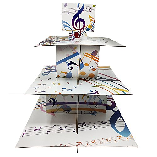 Music Cupcake Stand & Pick Kit, Music Party Supplies, Music Decorations, Birthdays, Cake Decorations, Kids Birthdays, 3 Tier Cardboard -