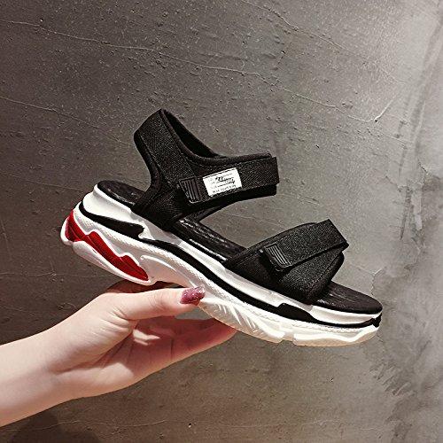 SOHOEOS sandalias de punta abierta mujer verano velcro zapatos de tacón medio mujer nuevos zapatos de plataforma plana mujer zapatos romanos deportes al aire libre ligero informal de secado rápido negro