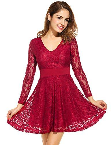 Zeagoo Women V-Neck A-Line Hollow Floral Lace Dress Short Party Evening Dresses