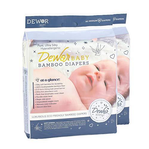 Dewor Baby Premium Bamboo Disposable Diapers, Medium (13-22 lbs), 2 Pack,2x74 Count