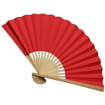 Faltf/ächer Chinesischer Stil Handf/ächer Einzelne Seite Papierf/ächer Bambus F/ächer F/ür Tanzparty Hochzeit Dekor Galy Einfarbiger Papier Fans 12 STK