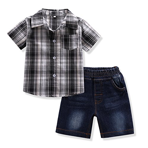 Toddler Boy's Clothes Short Sleeved Plaid Woven Shirt With Denim Shorts Sets (4 years, Black)