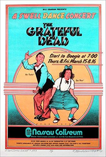 "Grateful Dead Poster Nassau Coliseum 1973 Concert 15"" x 22"" New Artist Edition Signed by David Byrd COA"