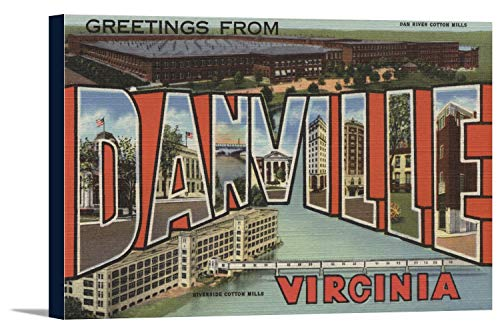 (Danville, Virginia - Large Letter Scenes (24x15 7/8 Gallery Wrapped Stretched Canvas))