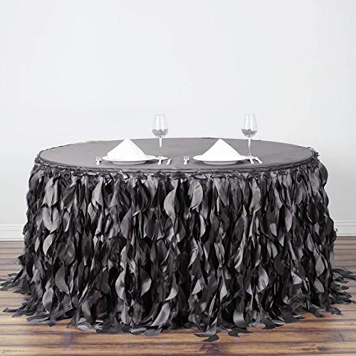 BalsaCircle 21 feet x 29-Inch Charcoal Grey Curly Waves Taffeta Table Skirt Linens Wedding Party Decorations Kitchen Dining -
