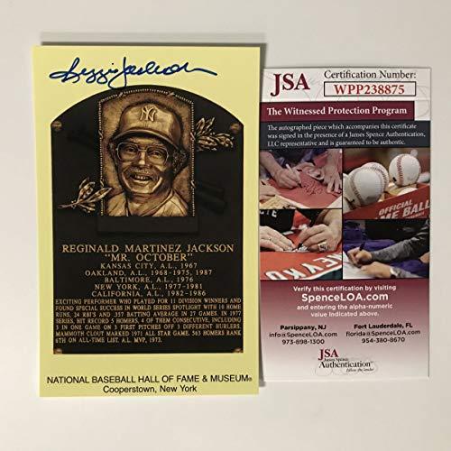 - Autographed/Signed Reggie Jackson HOF Hall Of Fame Baseball Plaque Postcard JSA COA