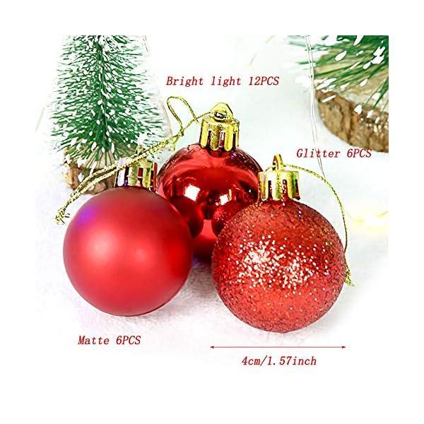 Yisscen Palle di Natale Decorazioni per Alberi, Palle per Alberi di Natale, Palle Decorative Natalizie, Palline Decorative Luccicanti opache e Lucide, per Decorazioni Feste, 24 Pezzi (Rosa Rossa) 7 spesavip