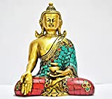 Aone India Thai Buddha Figure - Oriental Furniture Spiritual, Beautiful, New Age Graduation Gifts, 6-Inch Japanese Sitting Zen Buddhist Brass Buddha Statue- Long Ears + Cash Envelope (Pack Of 10)