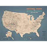 US National Parks & Monuments Map 18x24 Poster (Tan & Slate Blue)
