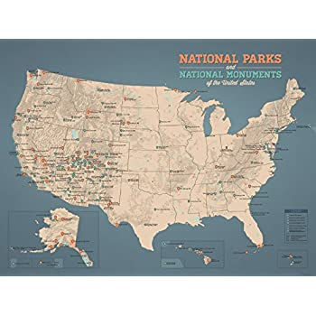 Amazoncom US National Parks Monuments Map X Poster Tan - Us map of national parks and monuments