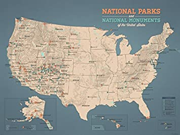 us national parks monuments map 18x24 poster tan slate blue
