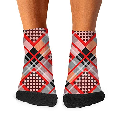 Chessboard Background Boys Crew Socks Low Cut Fashion -