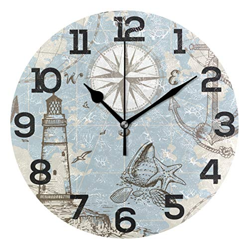 JERECY Vintage Nautical Anchor Lighthouse Compass Wall Clock Silent Non Ticking Acrylic 10 Inch Home Office School Decorative Round Clock Art