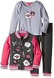 Betsey Johnson Little Girls' Toddler 3 Piece Knit Jacket Set XOX, Charcoal Grey, 4T