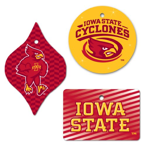 (VictoryStore Holiday Ornaments - Iowa State University Ornaments, Set of 3 Different Shapes, Circle, Rectangle, and Tapered)