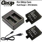®androgeek_es Cargador doble + 2 baterias 1000Mha 100% original marca GITUP. Valido para camaras GITUP git1 git2 git2p git3. Incluye cable USB. Androgeek envia desde España y es distribuidor oficial autorizado marca GITUP en España.