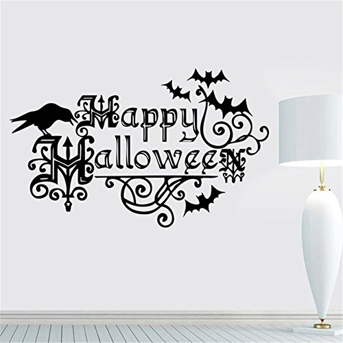 fdfzz Removable Vinyl Art Decal Crow for Halloween and Rooms Bats Charm Happy Halloween Decorations Nursery Window Halloween Kids Handmade Latest Quotes Quotes Art Decor -
