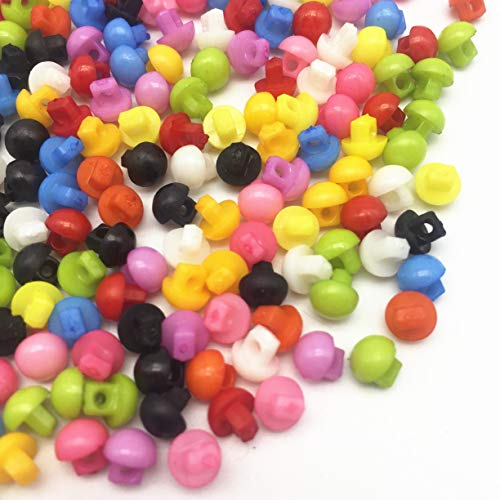Mixed 6mm Round Shank Plastic Buttons Mini Tiny Sewing Doll Clothing Accessories Button DIY Embellishments Scrapbooking Pack of 1000 ()