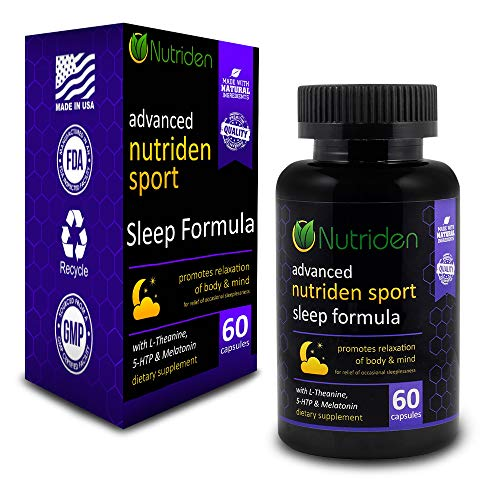 Nutriden Sport Advanced Sleep Aid - All Natural Sedative Effects from Melatonin, Magnesium, L-Theanine, 5-HTP & GABA - 100% Risk Free Guarantee (60 Capsules)