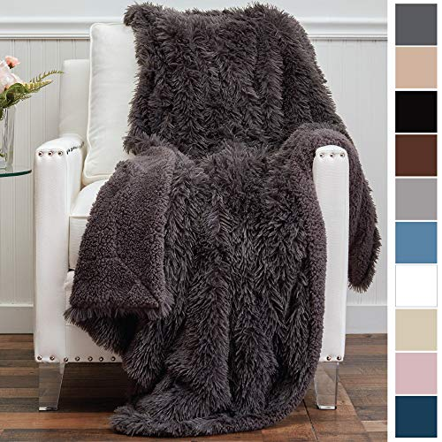 The Connecticut Home Company Original Shaggy Throw Blanket, Super Soft, Large Plush Reversible Blankets, Warm & Hypoallergenic Washable Couch/Bed Throws, Microfiber 65
