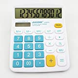 Chris-Wang Colorful Large Button Desktop Calculator for Office & Home Use, 12 Digit Solar & Battery Dual Powered LCD Display Standard Electronic Calculator(Blue)