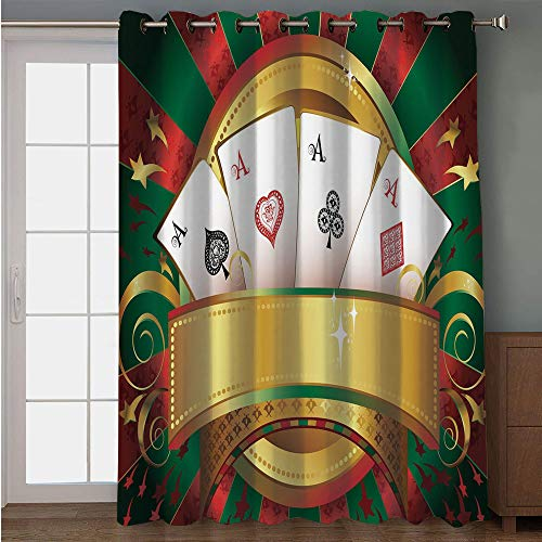 Blackout Patio Door Curtain,Poker Tournament,Gambling Fortune Wealth Playing Cards Hand Casino Roulette Winning Print Decorative,Multicolor,for Sliding & Patio Doors, 102