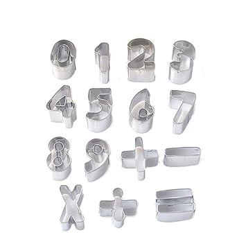 BESTONZON - Moldes para Galletas de Acero Inoxidable, Forma de número, para decoración de Tartas, para casa, Cocina (15 Unidades): Amazon.es: Hogar
