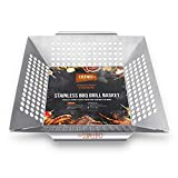 Vegetable Grill Basket,BBQ Vegetable Basket,BBQ Accessories for Grilling Veggies,Fish, Meat,Large Stainless Steel Vegetable Grill Basket Works On Charcoal or Gas Grills,Barbecue Camping Cookware