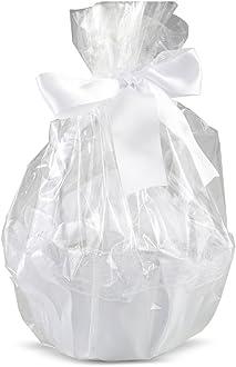 15.00x15.00x21.00 cm Textil Mopec Cesta de Tul Blanco Adornada con 288 p/étalos granates Pack de 1 Unidad