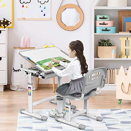 BABY JOY Kids Desk and Chair Set, Height Adjustable, Pull Out Spacious Storage Drawer, Kids Study Table with Tilted Desktop (Grey)