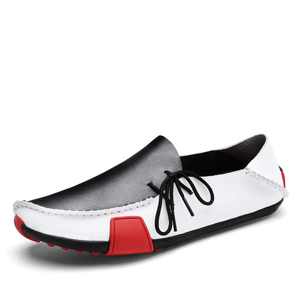 BAIQUAN New Leather Mens Loafers Fashion Shoes Handmade Moccasins Soft Leather Slip on Men's Boat Shoe Plus Size 38~47 White by BAIQUAN US