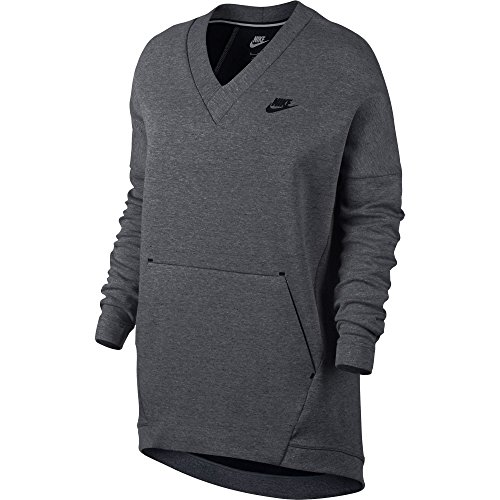 Nike Sportswear Tech Fleece Women's V-Neck Sweatshirt Grey/Black 803583-091 (Size XS) ()