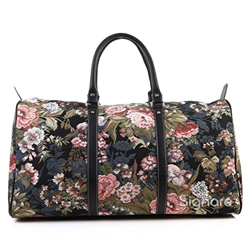 Signare Tapestry Carry-on Overnight Weekender Duffel Travel Bag with Peony Flower Black (BHOLD-PEO) -