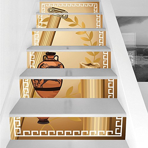 Stair Stickers Wall Stickers,6 PCS Self-adhesive,Toga Party,Antique Greek Columns Vase Olive Branch Hellenic Heritage Icons,Light Brown Cinnamon White,Stair Riser Decal for Living Room, Hall, Kids Roo (Heritage Vases)