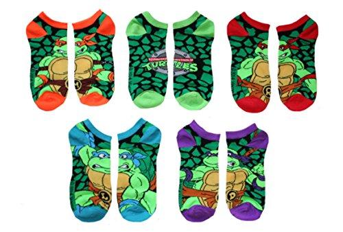Teenage Mutant Ninja Turtles Adult No Show Ankle Socks 5 Pair (Green/Multi) - Adult Turtle