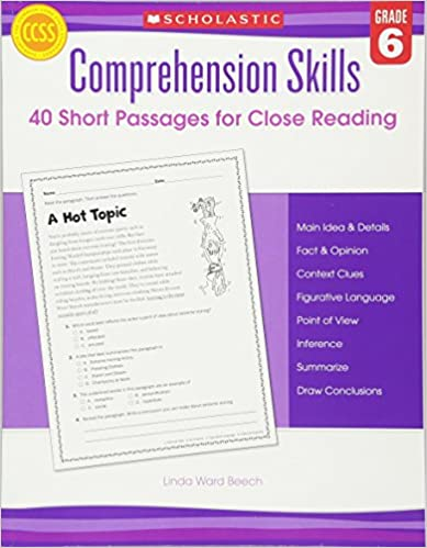 Descargar Comprehension Skills: 40 Short Passages For Close Readings, Grade 6 PDF Gratis