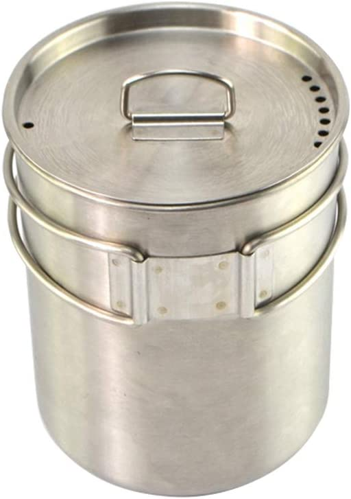 700ml Stainless Steel Camping Cookware Cup Pot with Folding Handle and Lid