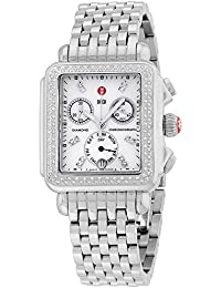 Deco Day Diamonds Chronograph Mother of Pearl Dial Silver Womens Watch MWW06P000099